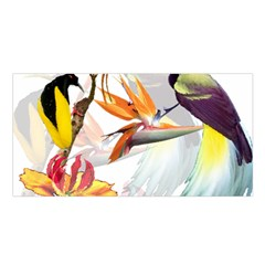Exotic Birds Of Paradise And Flowers Watercolor Satin Shawl by TKKdesignsCo