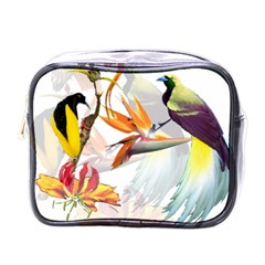 Exotic Birds Of Paradise And Flowers Watercolor Mini Toiletries Bags by TKKdesignsCo