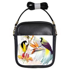 Exotic Birds Of Paradise And Flowers Watercolor Girls Sling Bags by TKKdesignsCo