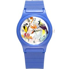 Exotic Birds Of Paradise And Flowers Watercolor Round Plastic Sport Watch (s) by TKKdesignsCo