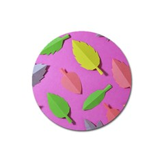 Leaves Autumn Nature Trees Magnet 3  (round) by Celenk