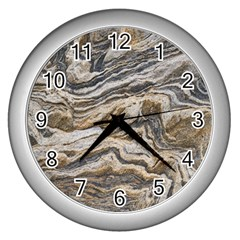 Texture Marble Abstract Pattern Wall Clocks (silver)  by Celenk