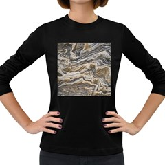 Texture Marble Abstract Pattern Women s Long Sleeve Dark T Shirts