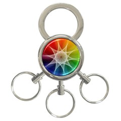 Abstract Star Pattern Structure 3 Ring Key Chains by Celenk