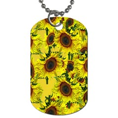 Sun Flower Pattern Background Dog Tag (one Side) by Celenk