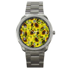 Sun Flower Pattern Background Sport Metal Watch by Celenk