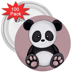 Cute Panda 3  Buttons (100 Pack)  by Valentinaart