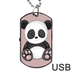 Cute Panda Dog Tag Usb Flash (one Side) by Valentinaart