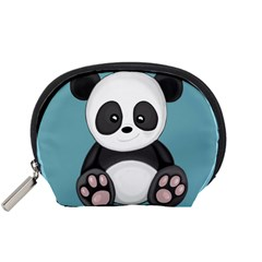 Cute Panda Accessory Pouches (small)  by Valentinaart