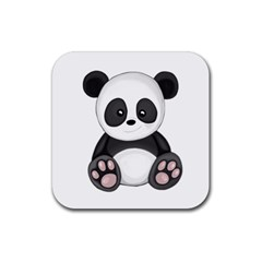 Cute Panda Rubber Square Coaster (4 Pack)  by Valentinaart