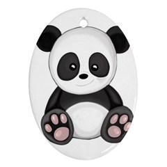 Cute Panda Oval Ornament (two Sides) by Valentinaart