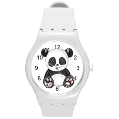 Cute Panda Round Plastic Sport Watch (m) by Valentinaart