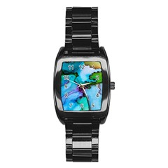 Abstract Painting Art Stainless Steel Barrel Watch by Celenk