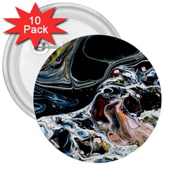 Abstract Flow River Black 3  Buttons (10 Pack)