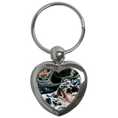 Abstract Flow River Black Key Chains (heart)