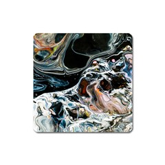 Abstract Flow River Black Square Magnet