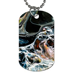 Abstract Flow River Black Dog Tag (two Sides) by Celenk