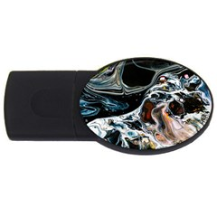 Abstract Flow River Black Usb Flash Drive Oval (4 Gb) by Celenk