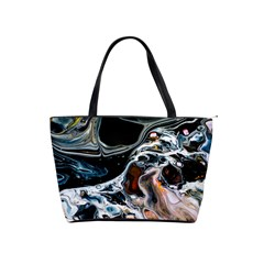 Abstract Flow River Black Shoulder Handbags by Celenk