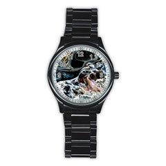 Abstract Flow River Black Stainless Steel Round Watch