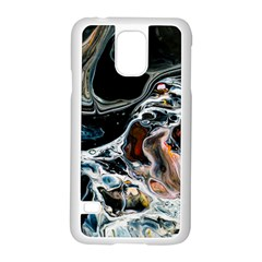 Abstract Flow River Black Samsung Galaxy S5 Case (white) by Celenk