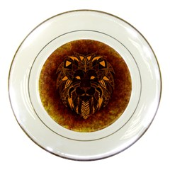 Lion Wild Animal Abstract Porcelain Plates by Celenk