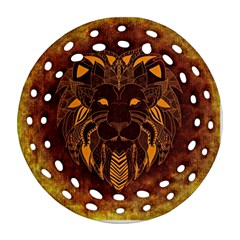 Lion Wild Animal Abstract Round Filigree Ornament (two Sides) by Celenk