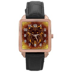 Lion Wild Animal Abstract Rose Gold Leather Watch  by Celenk