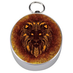 Lion Wild Animal Abstract Silver Compasses by Celenk