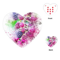Blackberry Fruit Art Abstract Playing Cards (heart)  by Celenk