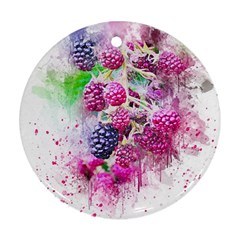 Blackberry Fruit Art Abstract Round Ornament (two Sides) by Celenk