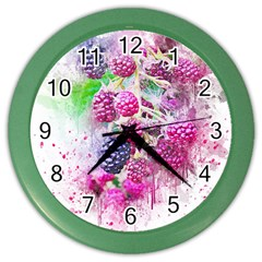 Blackberry Fruit Art Abstract Color Wall Clocks by Celenk