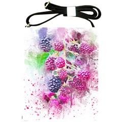 Blackberry Fruit Art Abstract Shoulder Sling Bags by Celenk