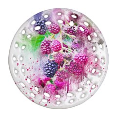 Blackberry Fruit Art Abstract Round Filigree Ornament (two Sides) by Celenk