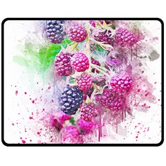 Blackberry Fruit Art Abstract Double Sided Fleece Blanket (medium)  by Celenk