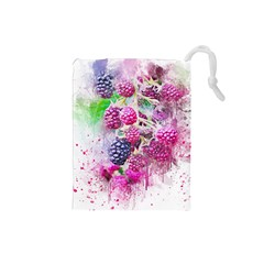 Blackberry Fruit Art Abstract Drawstring Pouches (small)  by Celenk