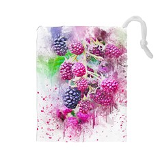 Blackberry Fruit Art Abstract Drawstring Pouches (large)  by Celenk