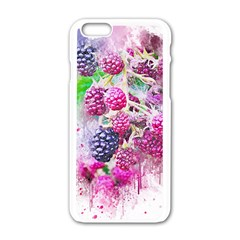 Blackberry Fruit Art Abstract Apple Iphone 6/6s White Enamel Case by Celenk