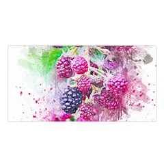 Blackberry Fruit Art Abstract Satin Shawl by Celenk