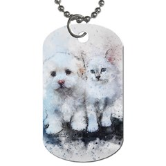 Cat Dog Cute Art Abstract Dog Tag (two Sides)