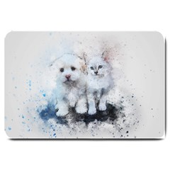 Cat Dog Cute Art Abstract Large Doormat
