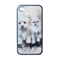 Cat Dog Cute Art Abstract Apple Iphone 4 Case (black)