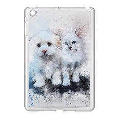 Cat Dog Cute Art Abstract Apple Ipad Mini Case (white) by Celenk