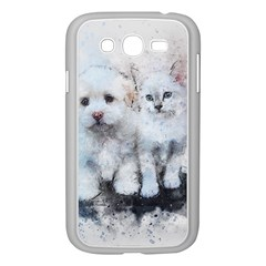 Cat Dog Cute Art Abstract Samsung Galaxy Grand Duos I9082 Case (white) by Celenk