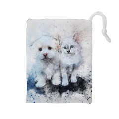 Cat Dog Cute Art Abstract Drawstring Pouches (large)  by Celenk
