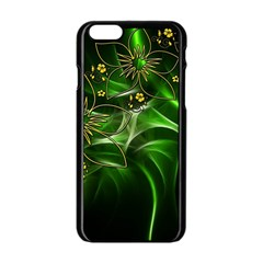 Flora Entwine Fractals Flowers Apple Iphone 6/6s Black Enamel Case by Celenk