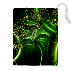 Flora Entwine Fractals Flowers Drawstring Pouches (xxl) by Celenk