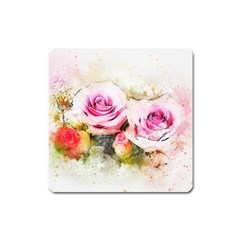 Flower Roses Art Abstract Square Magnet