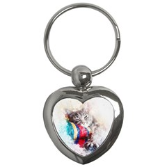 Cat Kitty Animal Art Abstract Key Chains (heart)