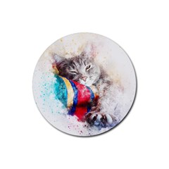 Cat Kitty Animal Art Abstract Rubber Round Coaster (4 Pack)  by Celenk